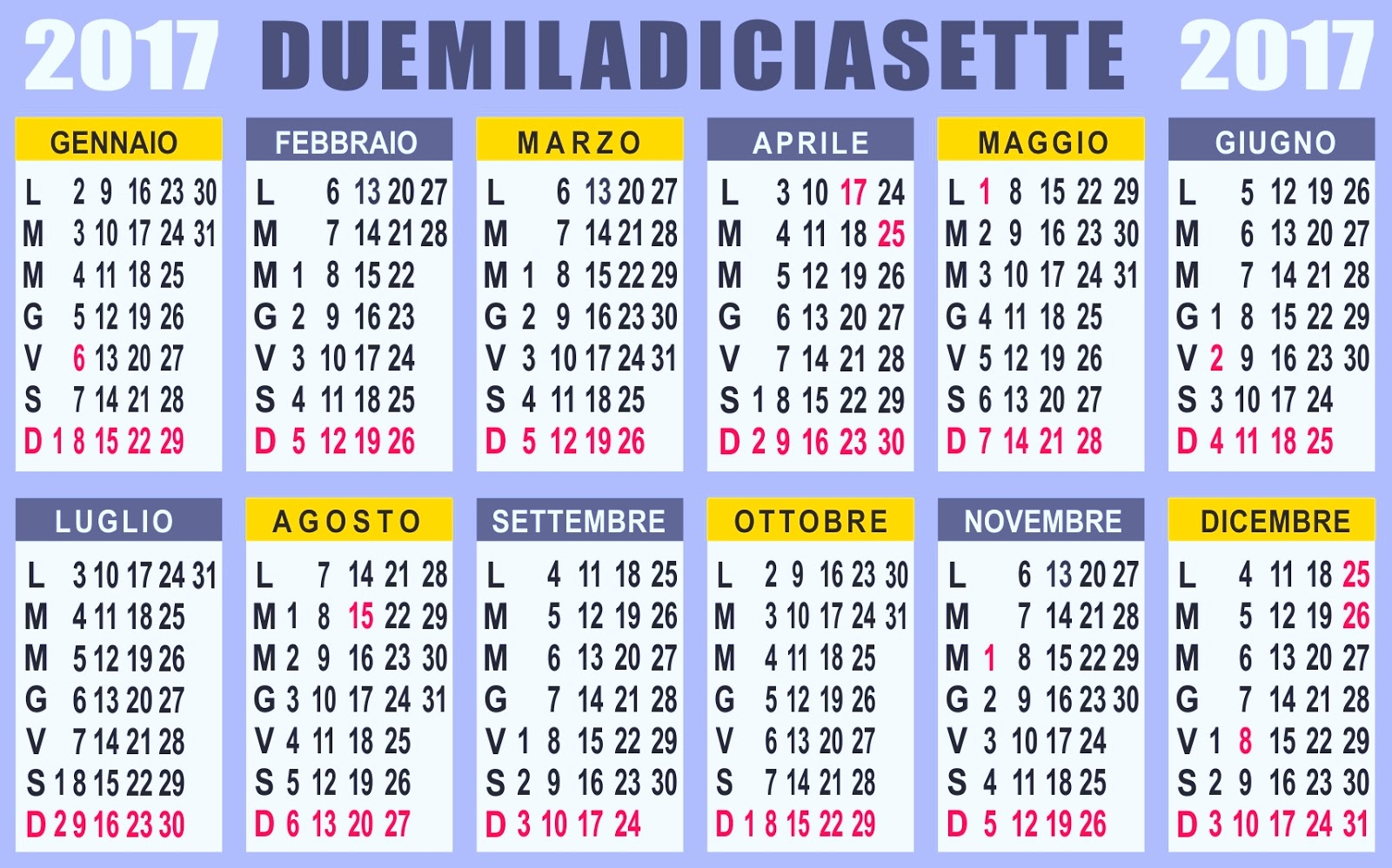 Calendario calendario 2017 - Calendario 2017 da tavolo ...