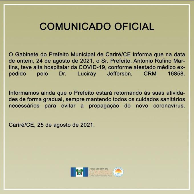 Prefeito Antônio Martins recebeu alta hospitalar da Covid-19