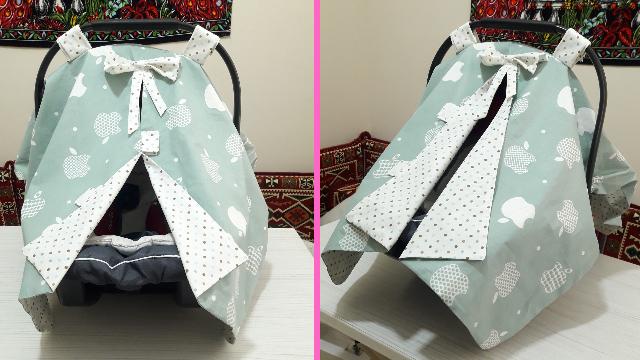Bebek puset örtüsü nasıl dikilir? | Bebek oto koltuğu örtüsü dikimi