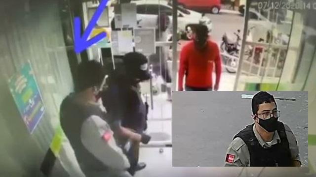 Assaltantes, um vestido com farda da PM da Paraíba faz assalto em Esperança na PB