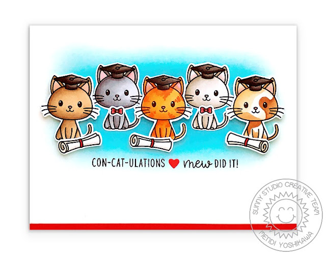 Sunny Studio Blog: Con-cat-ulations! Mew Did it! Punny Graduation Kitty Card by Mendi Yoshikawa (using Grad Cat & Woo Hoo Stamp Sets)