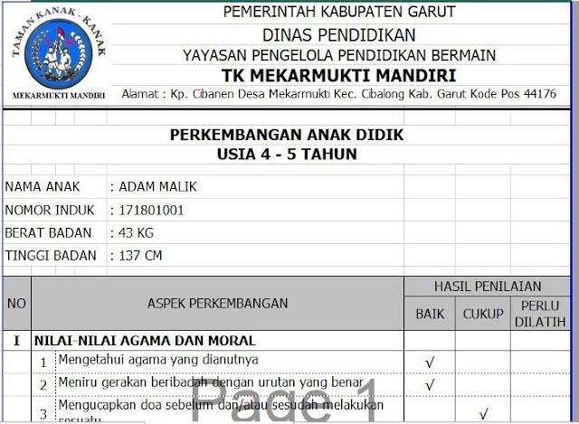 Tampilan Raport TK Usia 4-5 Tahun - http://www.librarypendidikan.com/