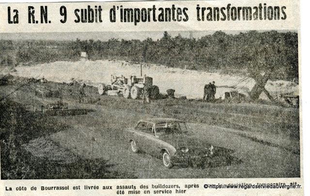 Travaux RN9 Clermont-Riom, 1962.