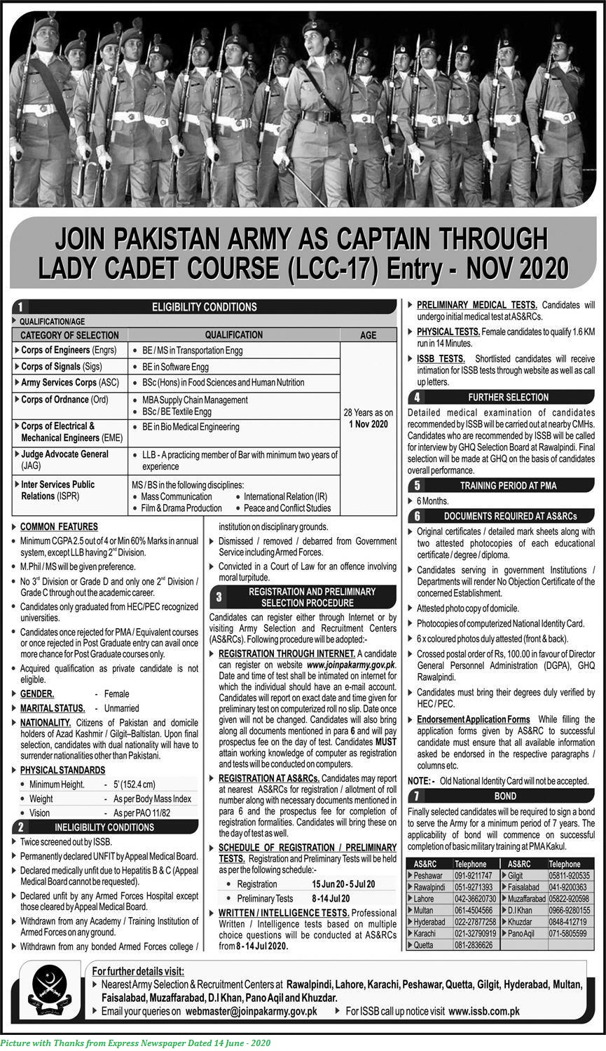 Join Pakistan Army as Captain Through Lady Cadet Course LCC-17 Entry 2020 - www.joinpakarmy.gov.pk Apply Online