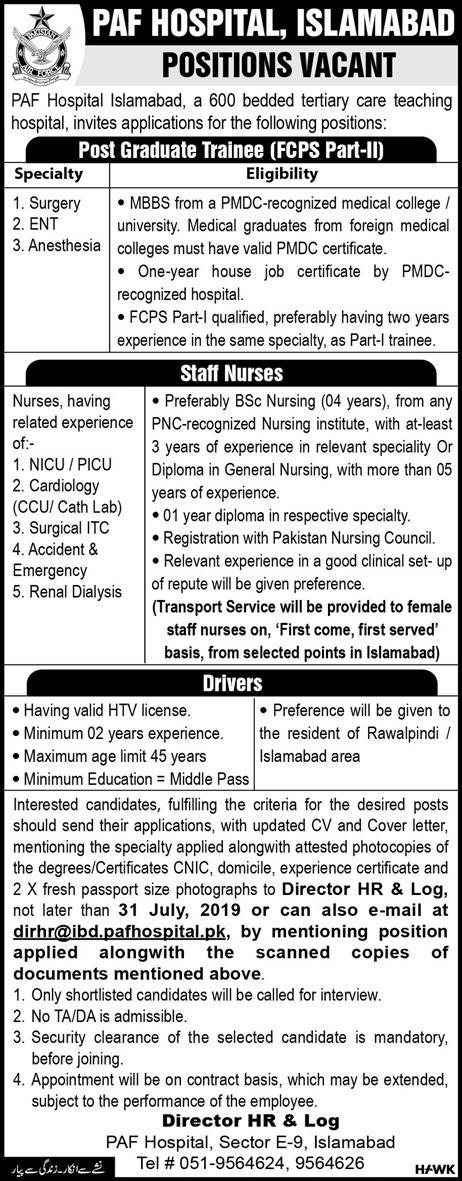 Advertisement for PAF Hospital Islamabad Jobs