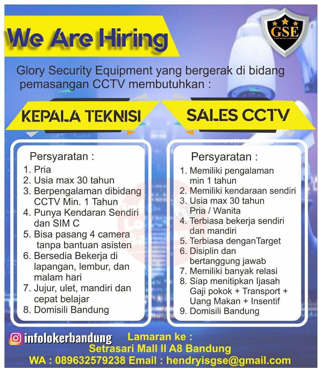 Lowongan Kerja Kepala Teknisi & Sales CCTV Glory Security Equipment (GSE) Bandung Juli 2019