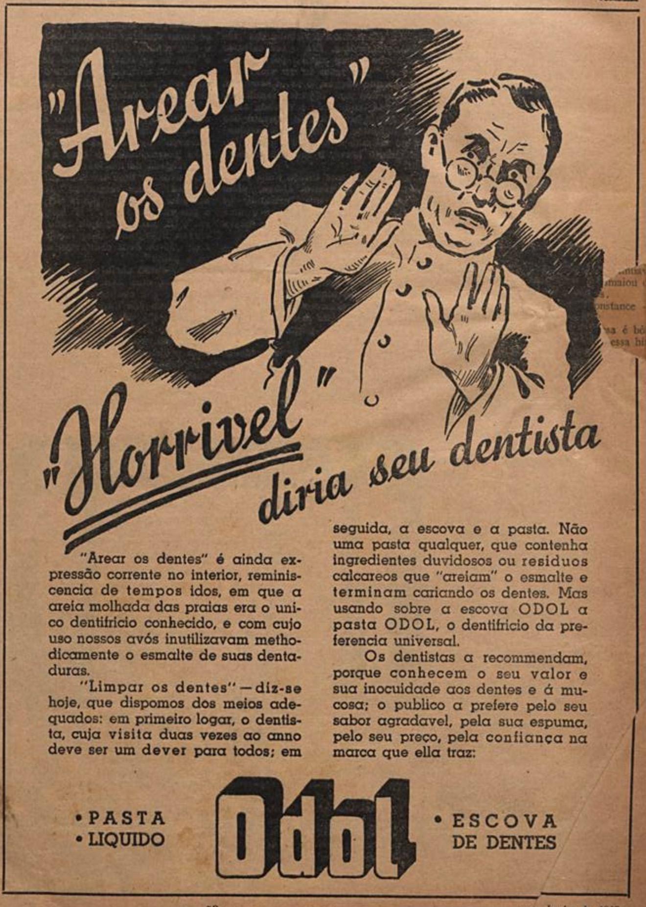 Propaganda antiga da pasta Odol para cuidados com os dentes em 1937