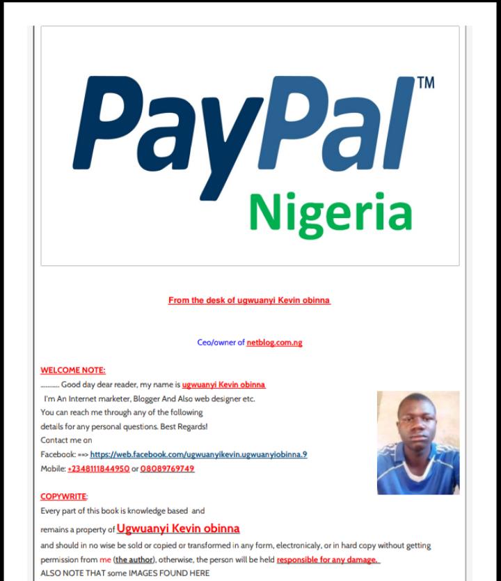 Paypal ebook guide - ugwuanyi Kevin obinna