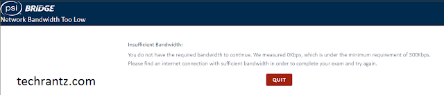 Photo showing the Network Bandwidth Too Low error on PSI Secure Bridge software