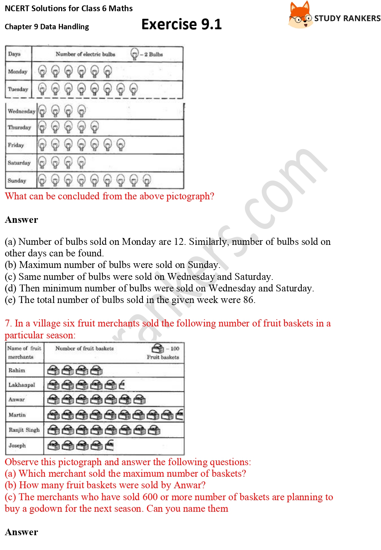 NCERT Solutions for Class 6 Maths Chapter 9 Data Handling Exercise 9.1 Part 4
