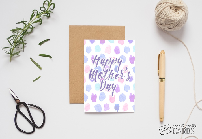 Watercolor Dot Mother's Day Card