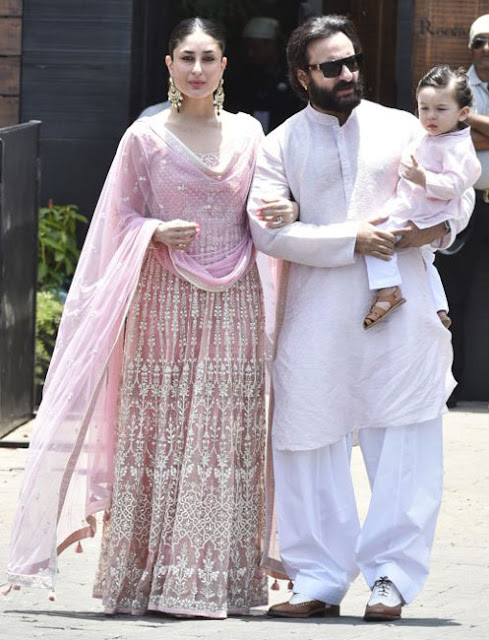 kareena kapoor, saif ali khan and taimur ali khan at sonam kapoor's wedding in the morning