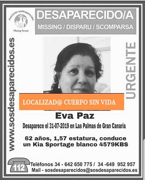 Eva Paz, mujer desaparecida encontrada muerta, Las Palmas de Gran Canaria