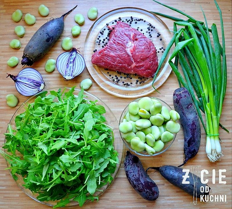 stek wolowy, skaladniki na salatkę, stek dojrzewajacy, stek sokolow, jak przygotowac stek, jak usmazyc stek, jak grillowac stek, stek z kryzowej, bob, buraki, rukola, zycie od kuchni,