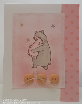 Pink baby girl card using Mama Elephant Bear Hugs stamp and MFT Diagonal Dienamics