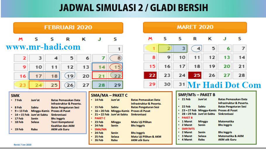Update Jadwal Simulasi 2 UNBK  SMP/Mts/SMA/SMK Tahun 2020