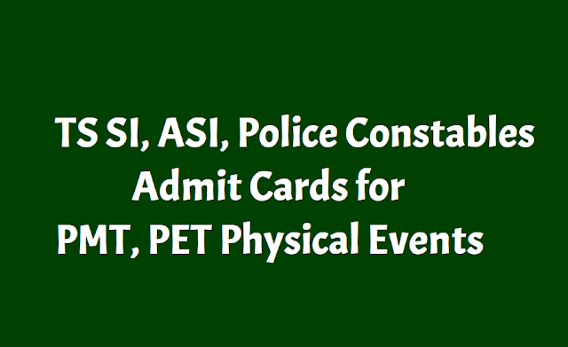 TS SI, ASI, PC Police Constables Admit Cards