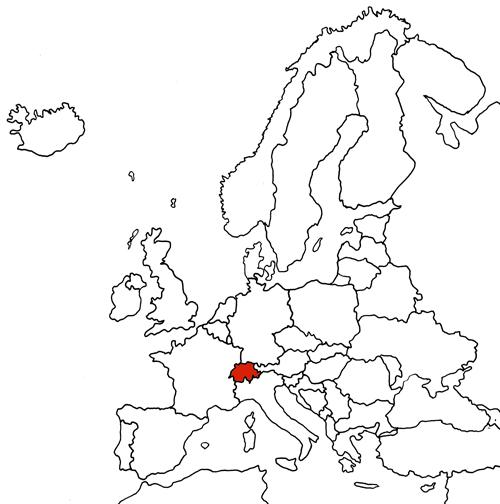 Europakarte hervorgehoben Schweiz