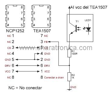 NCP1252 por TEA1507.