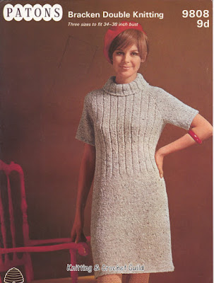1960s vintage knitting pattern; short sleeved dress.