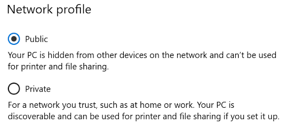 Image showing the option of either Public or Private network profiles.