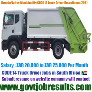 Breede Valley Municipality Code 14 Driver Recruitment 2021
