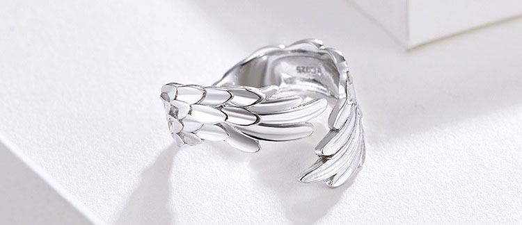 羽毛 925純銀開口戒指