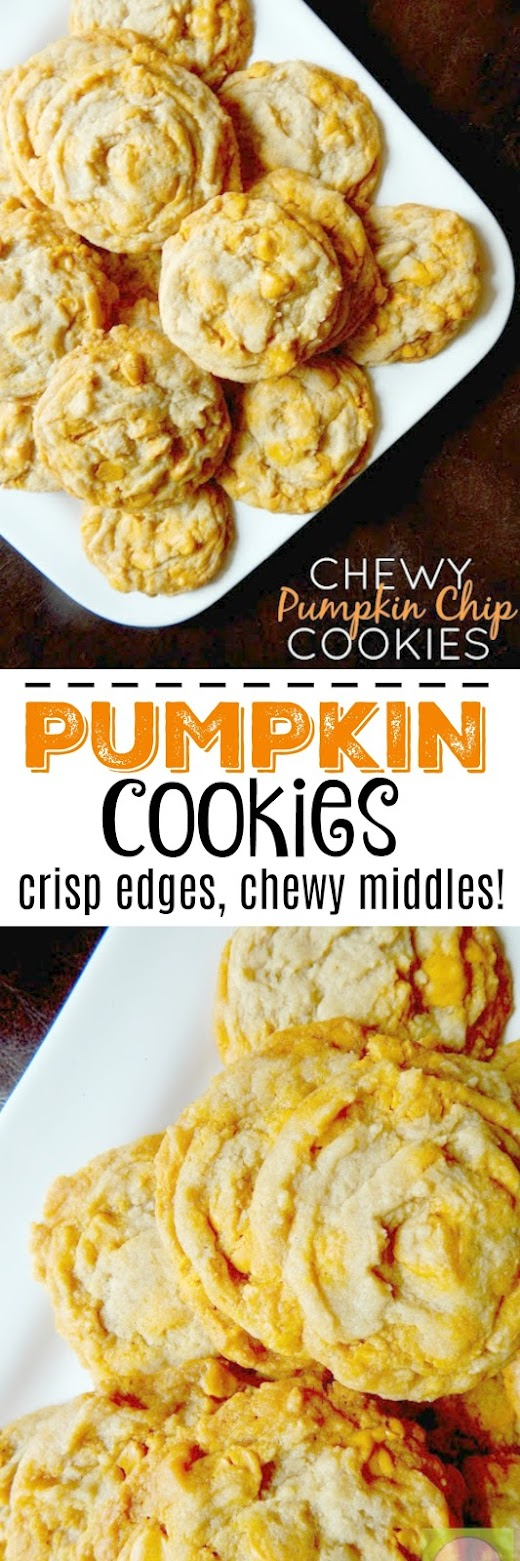 Chewy Pumpkin Chip Cookies #fallbaking #pumpkin #sweetsavoryeats