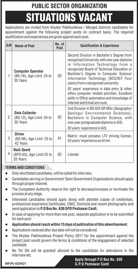 Public Sector Organization Jobs 2021 In Peshawar Cantt