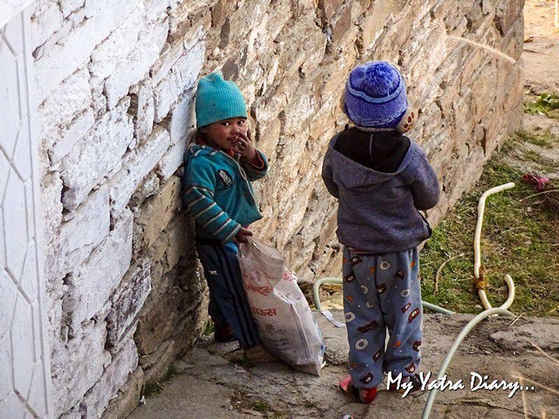Small kids playing at Dhanachuli Uttarakhand
