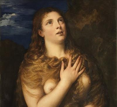 Madalena Penitente, pintura de Ticiano, estando a mulher com os seios desnudos