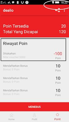 Bukti Penukaran Pulsa Gratis dari Aplikasi Dealio Android