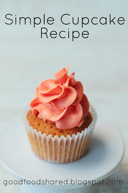 Simple Cupcake recipe, all the ingredient into one bowl, mix and you're ready for the oven. GoodFoodShared. Blogspot.com
