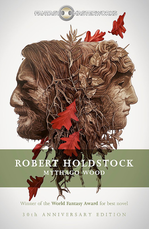 Book cover showing carved wooden heads back to back with leaves and tendrils covering them