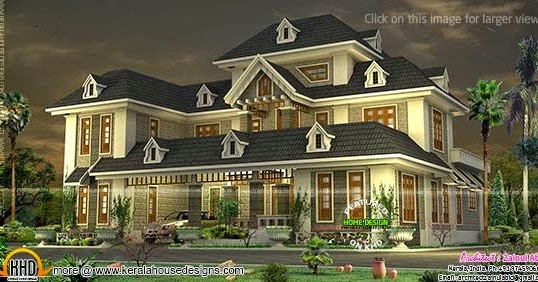 Colonial Mixed With Traditional Home Kerala Home Design