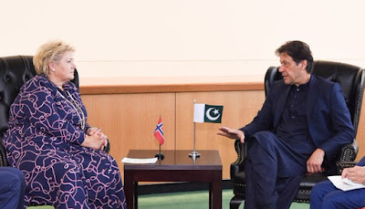 Prime Minister Imran meets his Norwegian counterpart and informs him about the current situation in the region