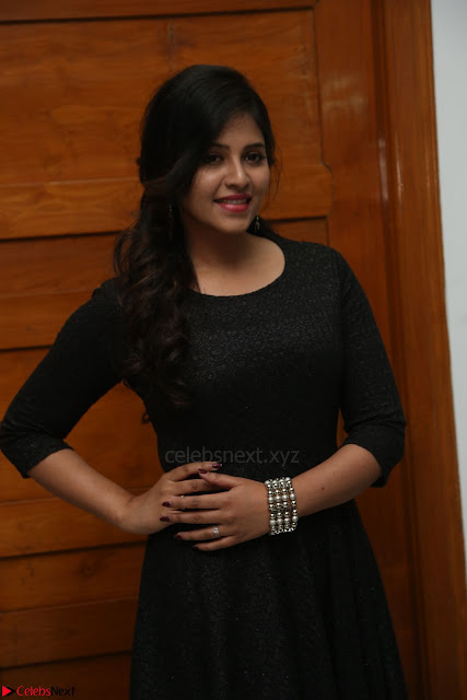 Anjali in Black Short Dress at Chitrangada Movie Success Meet 217.JPG