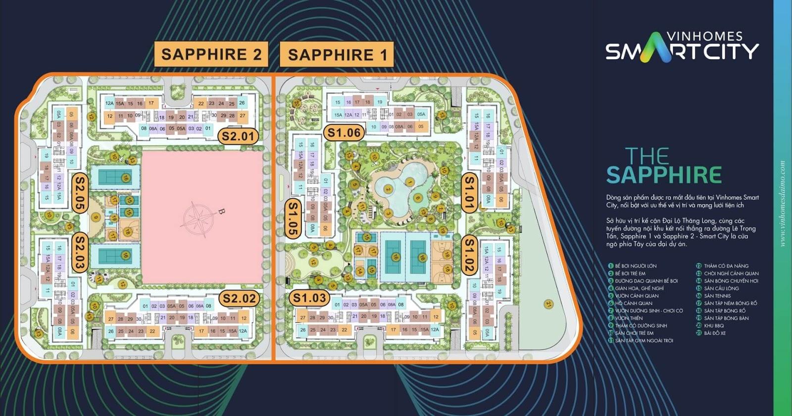 Mặt bằng phân khu The Sapphire Vinhomes Smart City