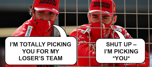 "Carlos Sainz saying ""I'm totally picking you for my losers team"" and Charles Leclerc replying ""shut up - I'm picking YOU"""