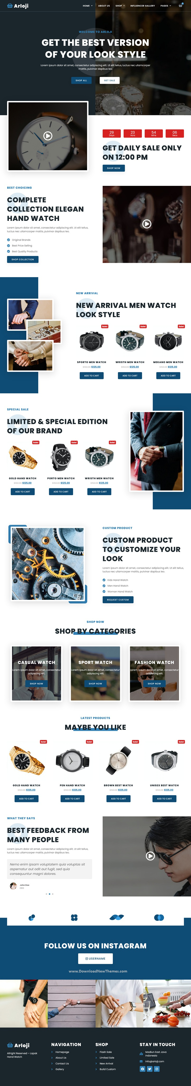 Arloji - Modern Hand Watch Shop eCommerce Elementor Template Kit