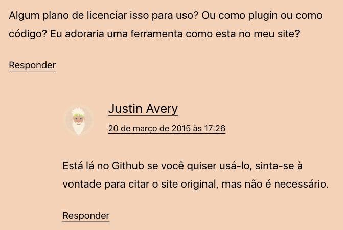 Justin responde sobre o uso do código de Eu sou responsivo.