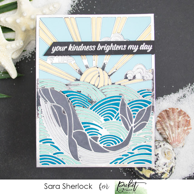 Paper piecing, Stained Glass Effect, A Whale of a Tale, Picket Fence Studios, March Release, Die cutting