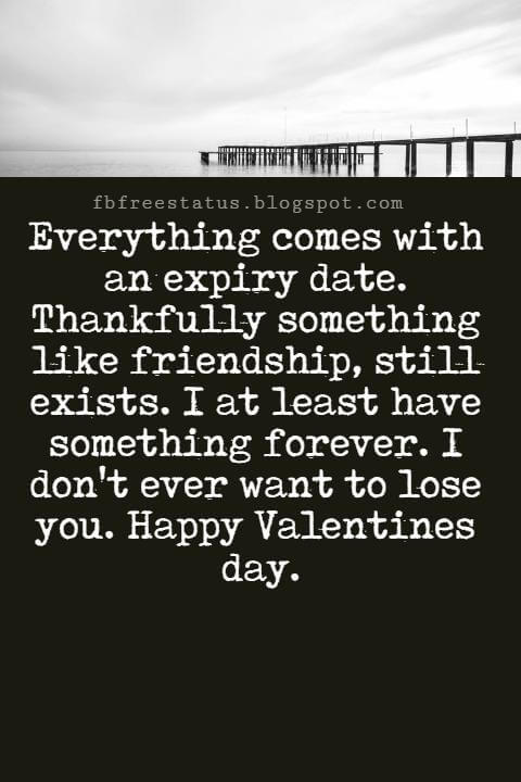 Valentines Day Messages For Friends, Everything comes with an expiry date. Thankfully something like friendship, still exists. I at least have something forever. I don't ever want to lose you. Happy Valentines day.