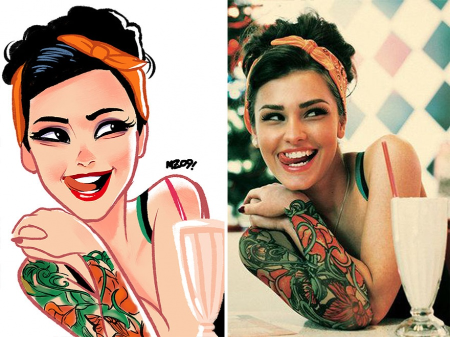 artist transforms photos of random people in amazing illustrations