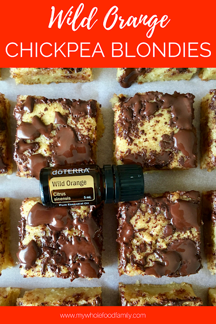 wild orange chickpea blondies with doTERRA essential oils - gluten free, dairy free, nut free, refined sugar free - from www.mywholefoodfamily.com
