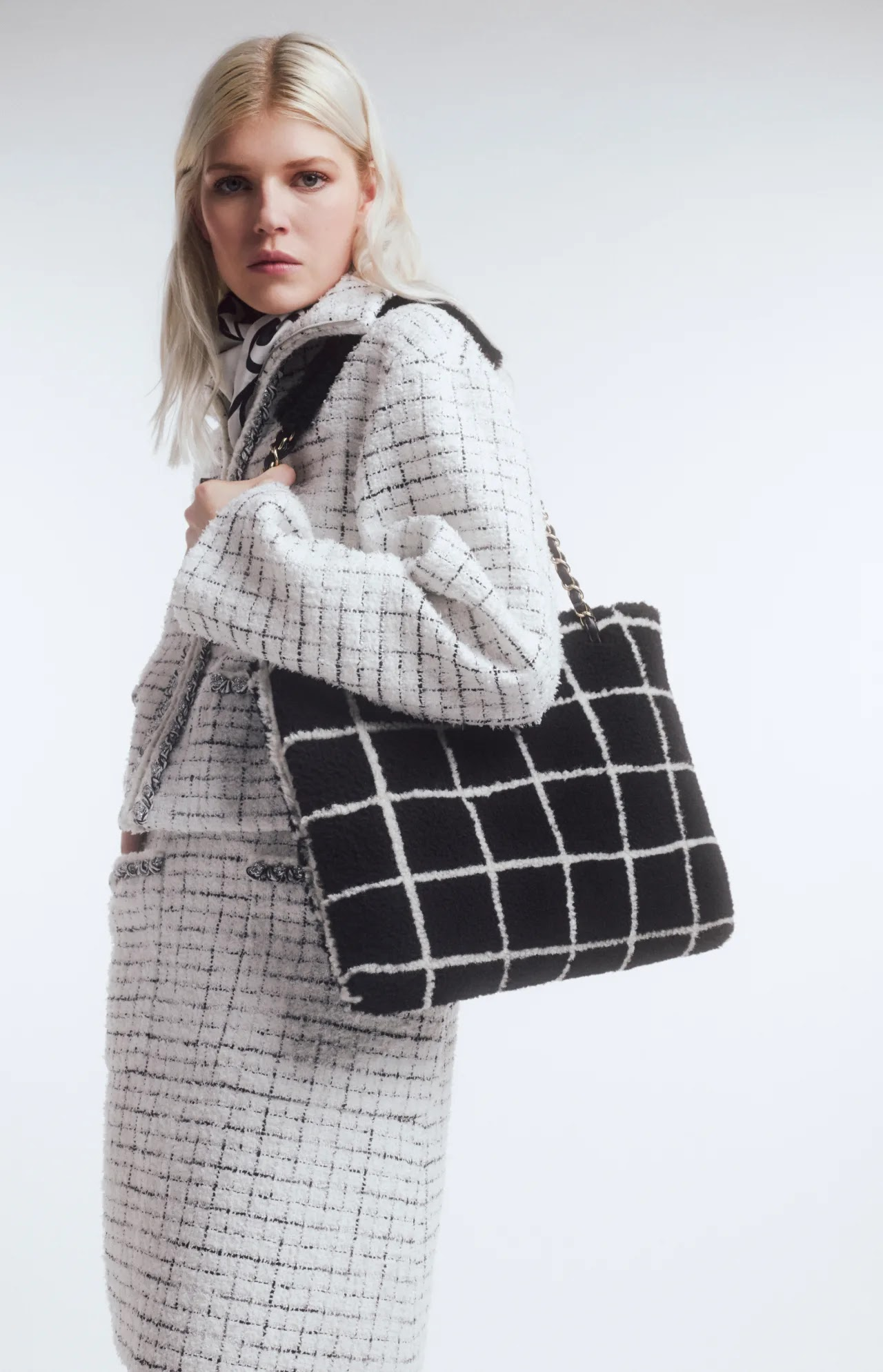 Chanel Sherling Lambskin B&W Shopping bag