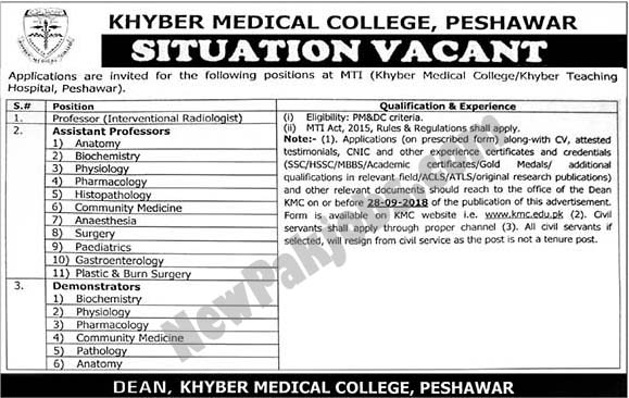Khyber Medical College Peshawar Announced Latest Jobs 2018