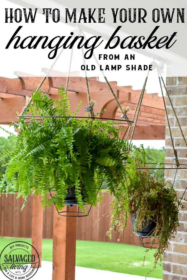 Lamp shade hanging planters
