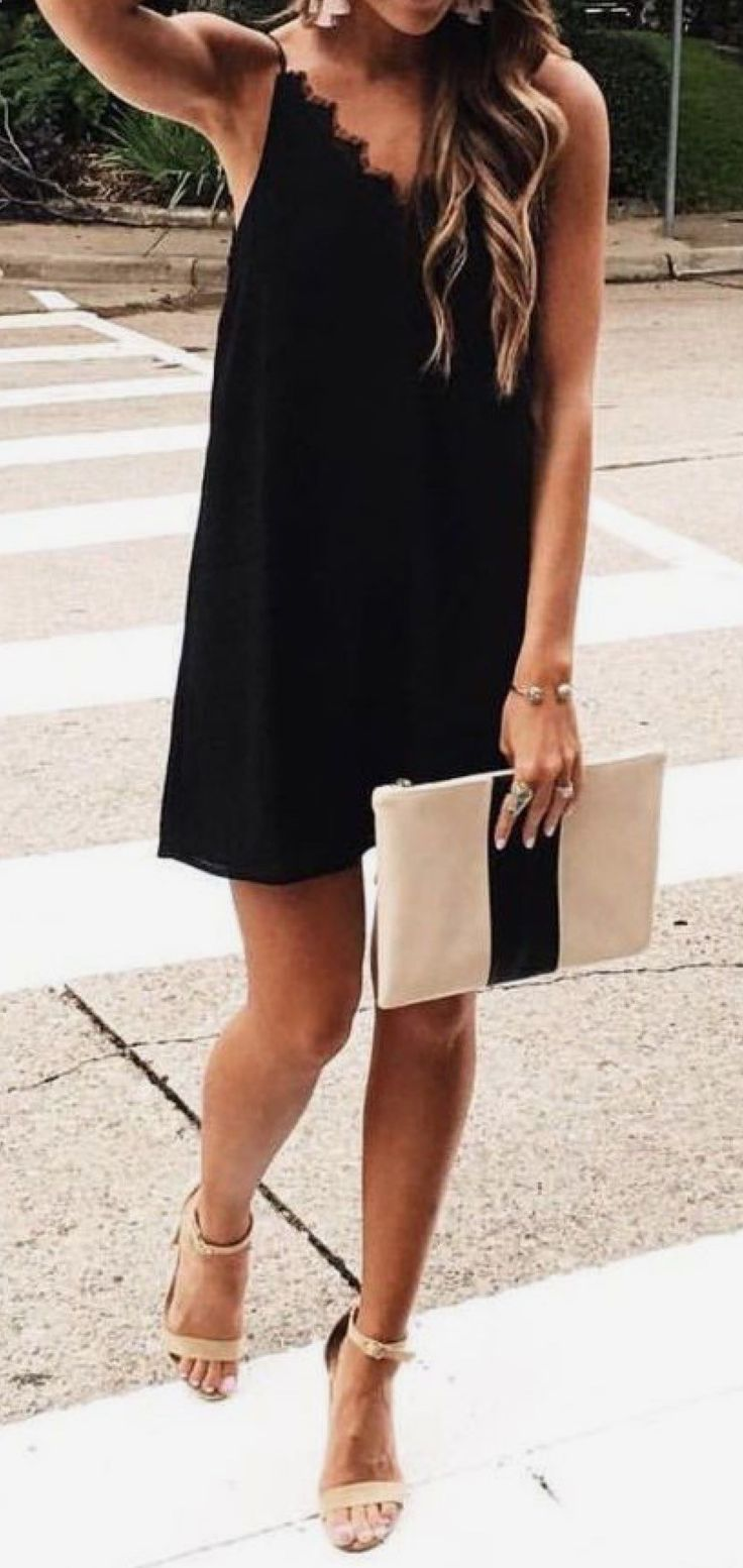 what to wear with a black dress : nude heels + bag