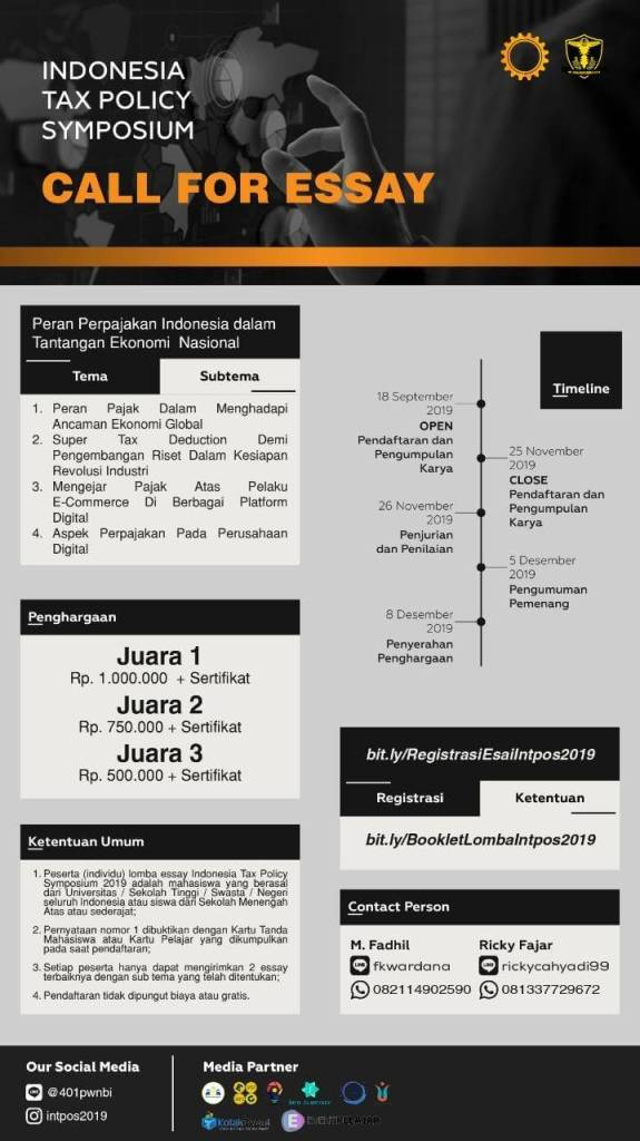 Lomba Essay INDONESIA TAX POLICY SYMPOSIUM 2019 Deadline 25 November 2019